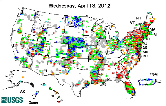 USGS Active Groundwater Network map 18 April 2012