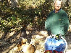 20121031 111820 Gretchen the farmer with okra and peppers and Brown Dog and Yellow Dog