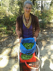 Gretchen the Rotarian with okra