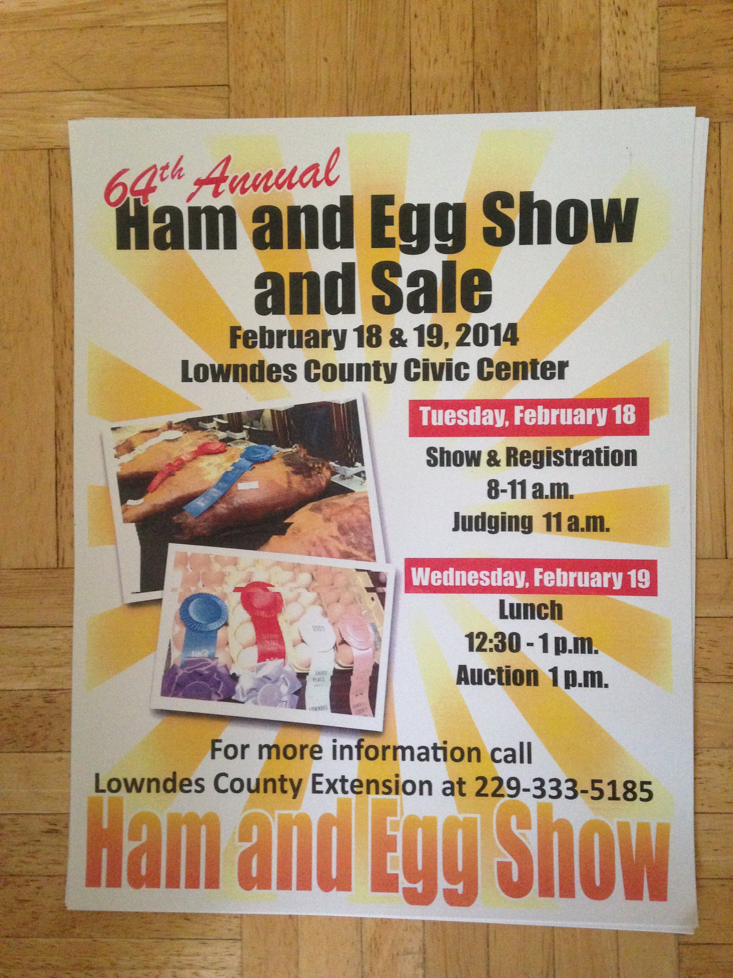 Ham and Eggs 2014, in 64th Annual Ham and Eggs Show, by Gretchen Quarterman, for Okra Paradise Farms, 18 February 2014