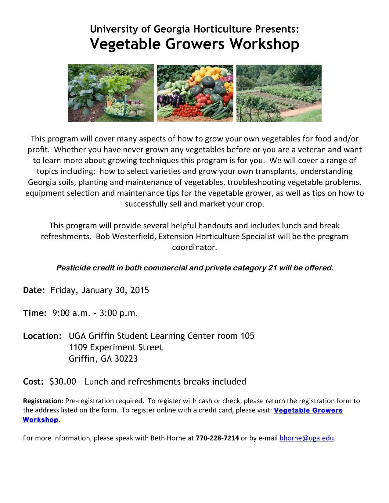 1275x1650 2015 Invitation, in Vegetable Growers Workshop, by UGA Horticulture, for OkraParadiseFarms.com, 30 January 2015