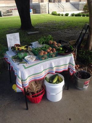 Corn and vegetables, in At the market, by Gretchen Quarterman, for OkraParadiseFarms.com, 27 June 2015