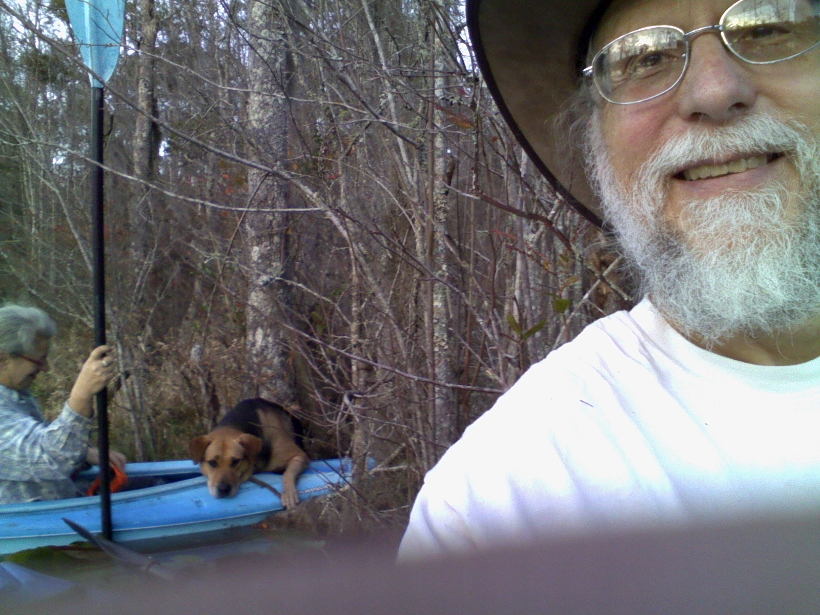 1600x1200 Brown Dog unclear on how to get in a boat, in Graceful Dogs, by John S. Quarterman, for OkraParadiseFarms.com, 28 December 2015