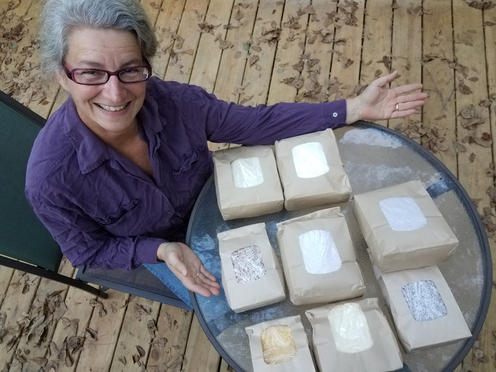 1008x756 Gretchen with many-colored grits fresh from the mill, in Grits and corn flower: red, white, blue, and yellow, by John S. Quarterman, for OkraParadiseFarms.com, 4 November 2016