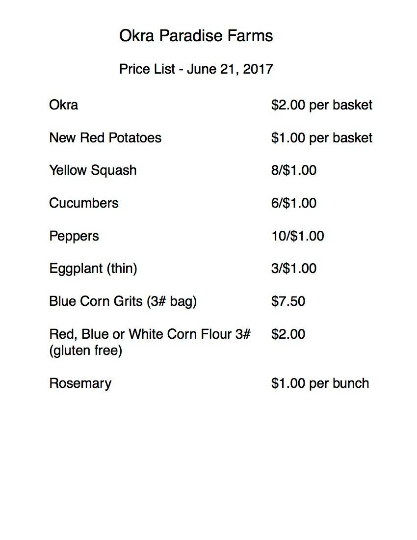 850x1100 Okra Paradise Farms price list, in Cucumbers, Okra, Yellow Squash, and more at Farmacy at Barnes Drugs, Valdosta, GA, by John S. Quarterman, for OkraParadiseFarms.com, 21 June 2017