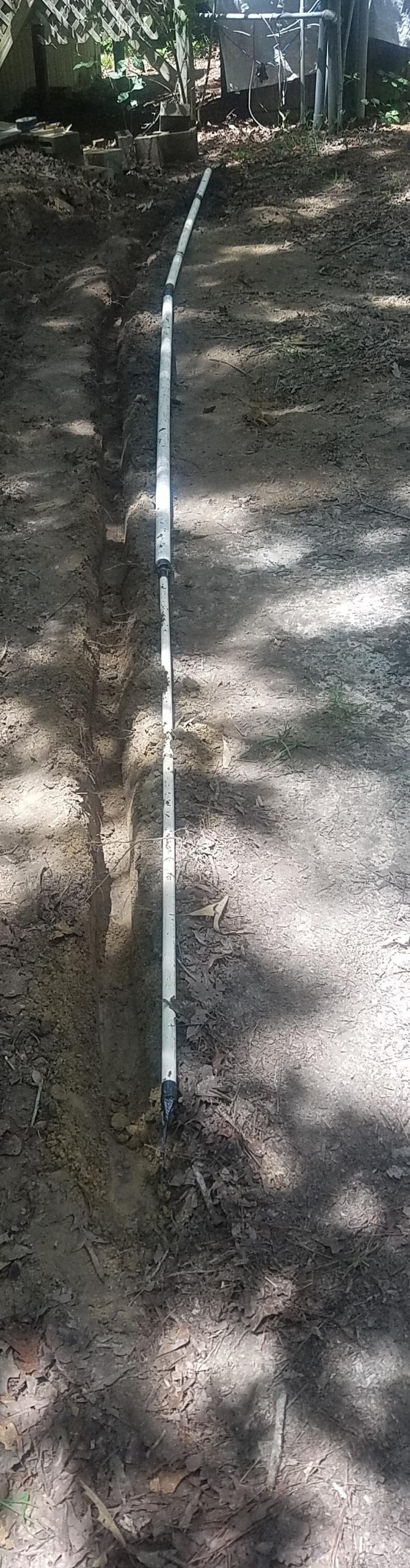 671x2563 Ditch dug, Cable, in Telephone conduit ditch, by John S. Quarterman, for OkraParadiseFarms.com, 24 May 2018