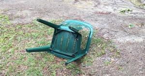 300x157 Chair, Blown over, in Wind damage, by Gretchen Quarterman, for OkraParadiseFarms.com, 19 April 2019